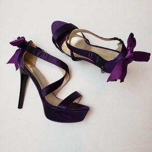 Shoes - Purple Satin Ribbon Bow Detail Stilettos size 9